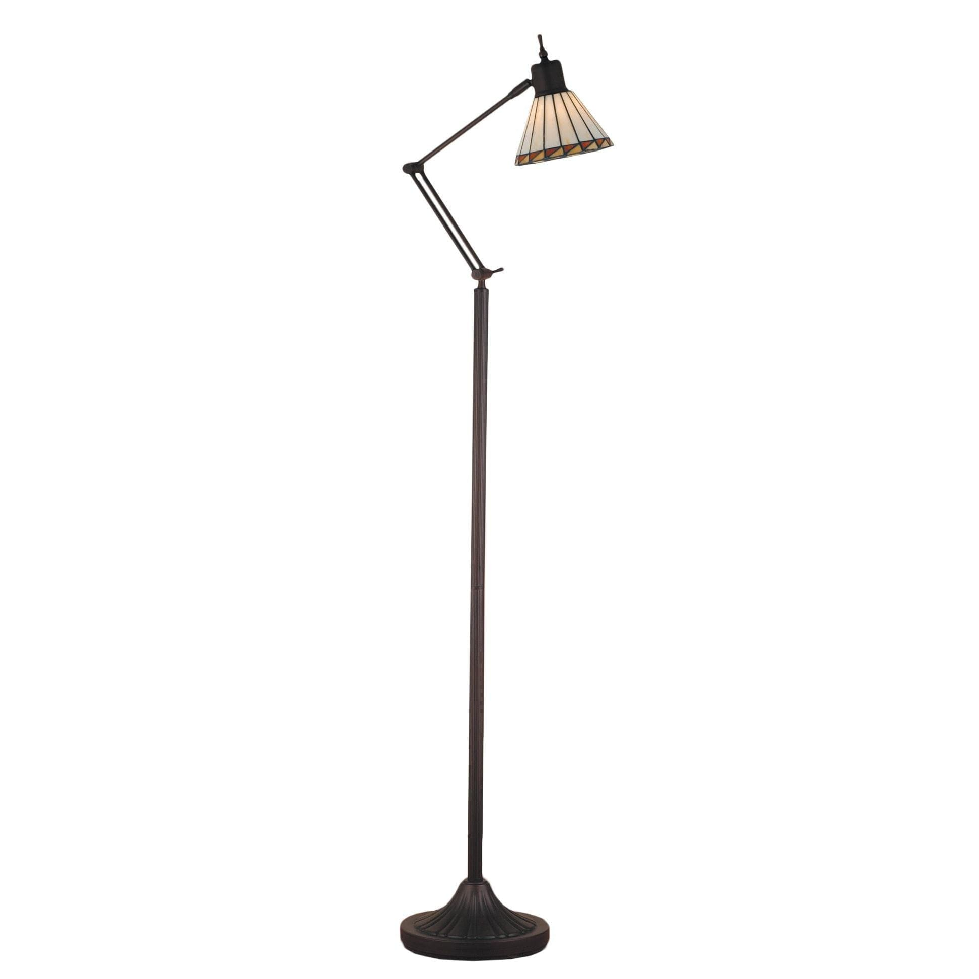Adjustable Floor Reading Lamp Stained Glass Tiffany Mission Style Light