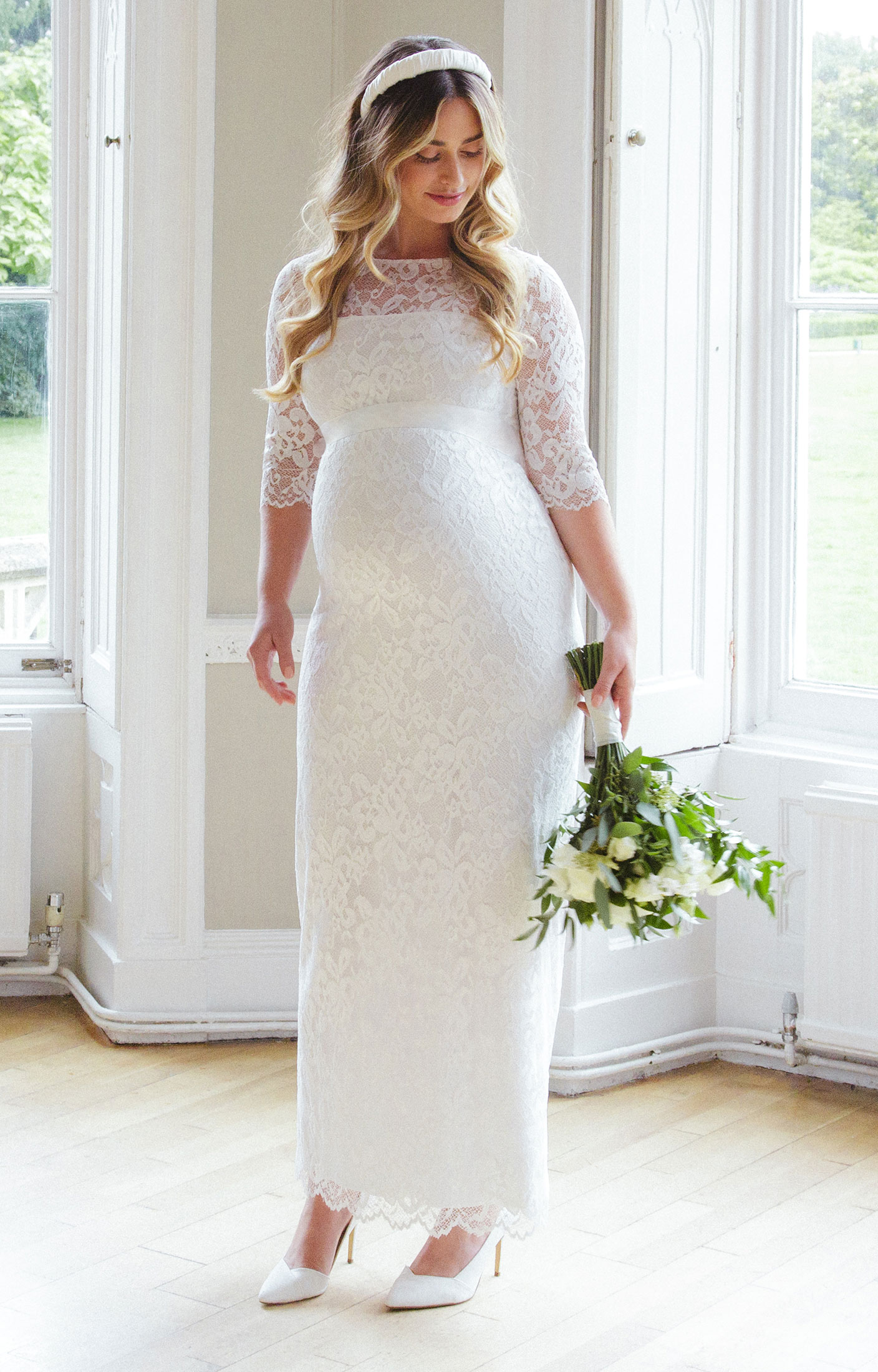 Amelia Lace Maternity Wedding Dress Long Ivory  Maternity Wedding Dresses Evening Wear and
