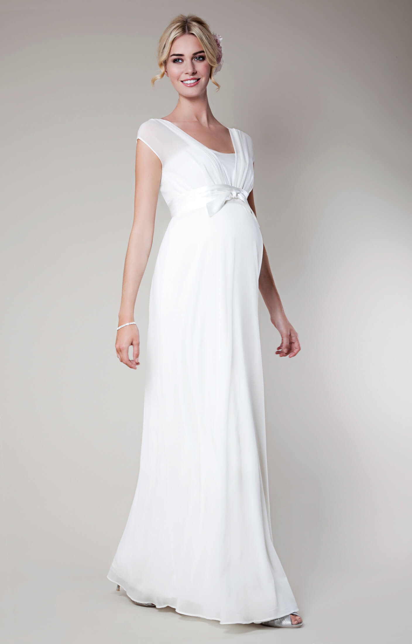 Lily Silk Maternity Wedding Gown Long Ivory  Maternity Wedding Dresses Evening Wear and