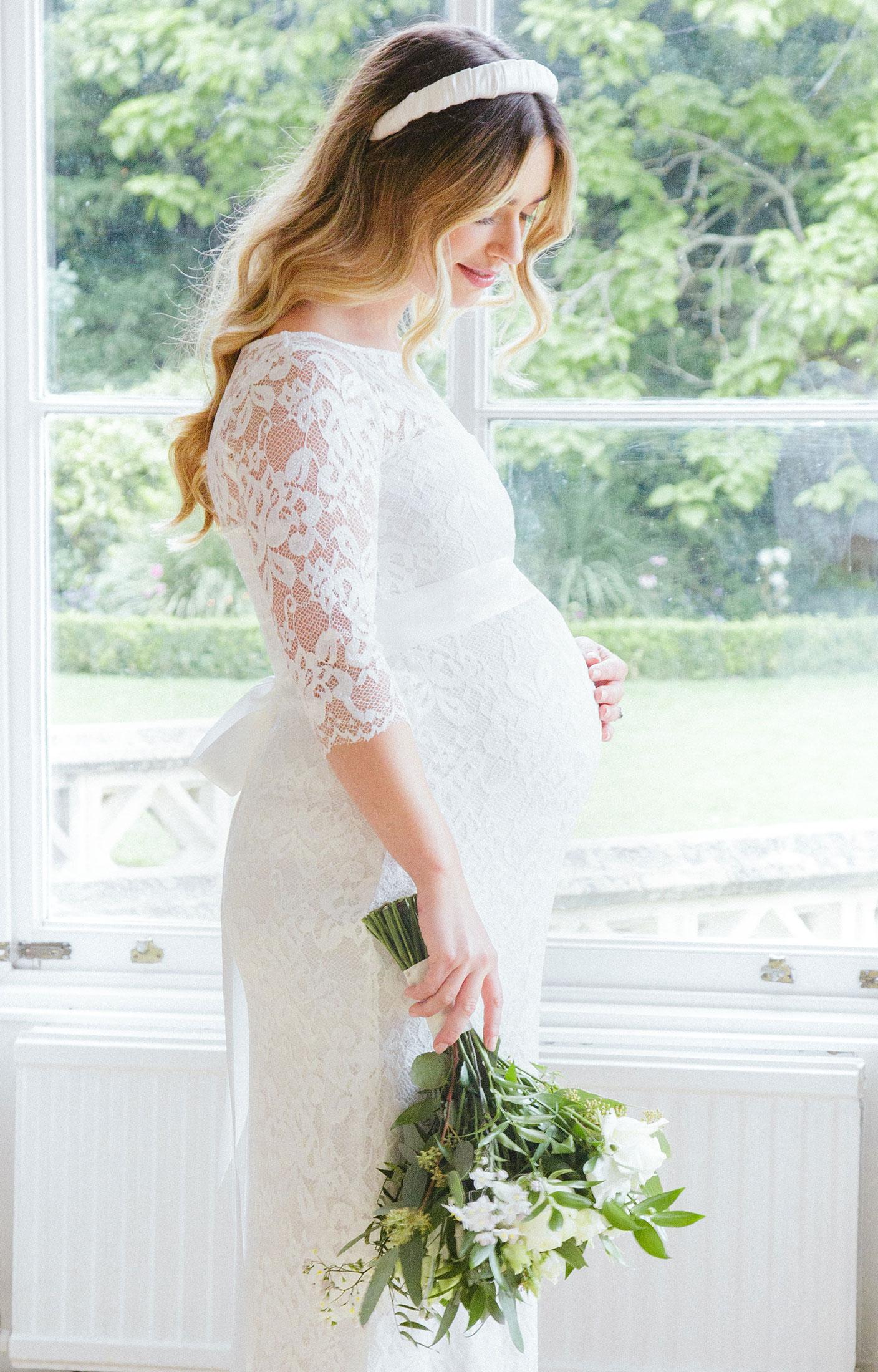 Amelia Lace Maternity Wedding Dress Long Ivory