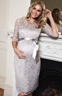 Amelia Maternity Dress Short (Silver Moonbeam) - Maternity ...