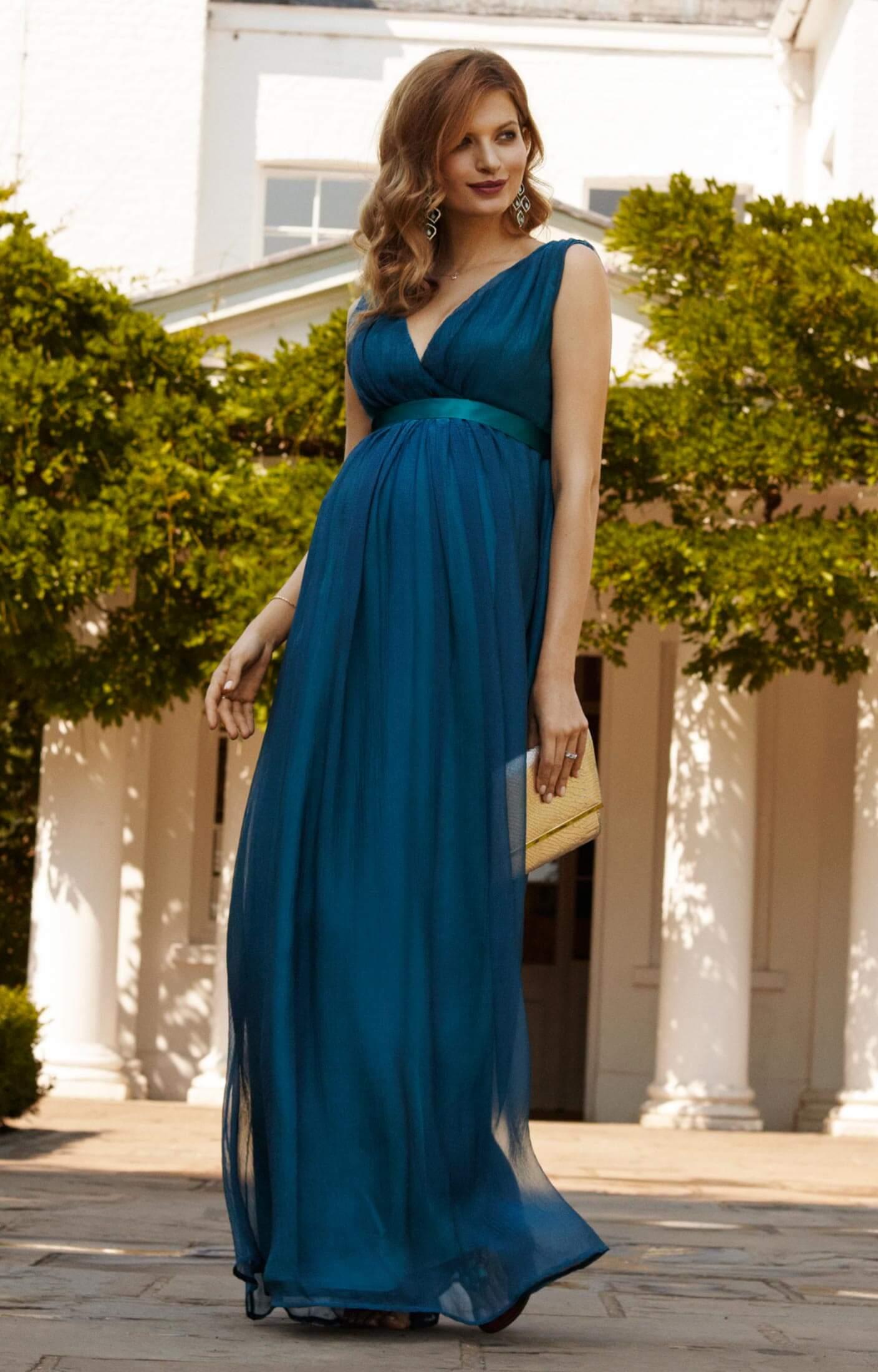 Ava Maternity Gown Long Aegean Blue  Maternity Wedding