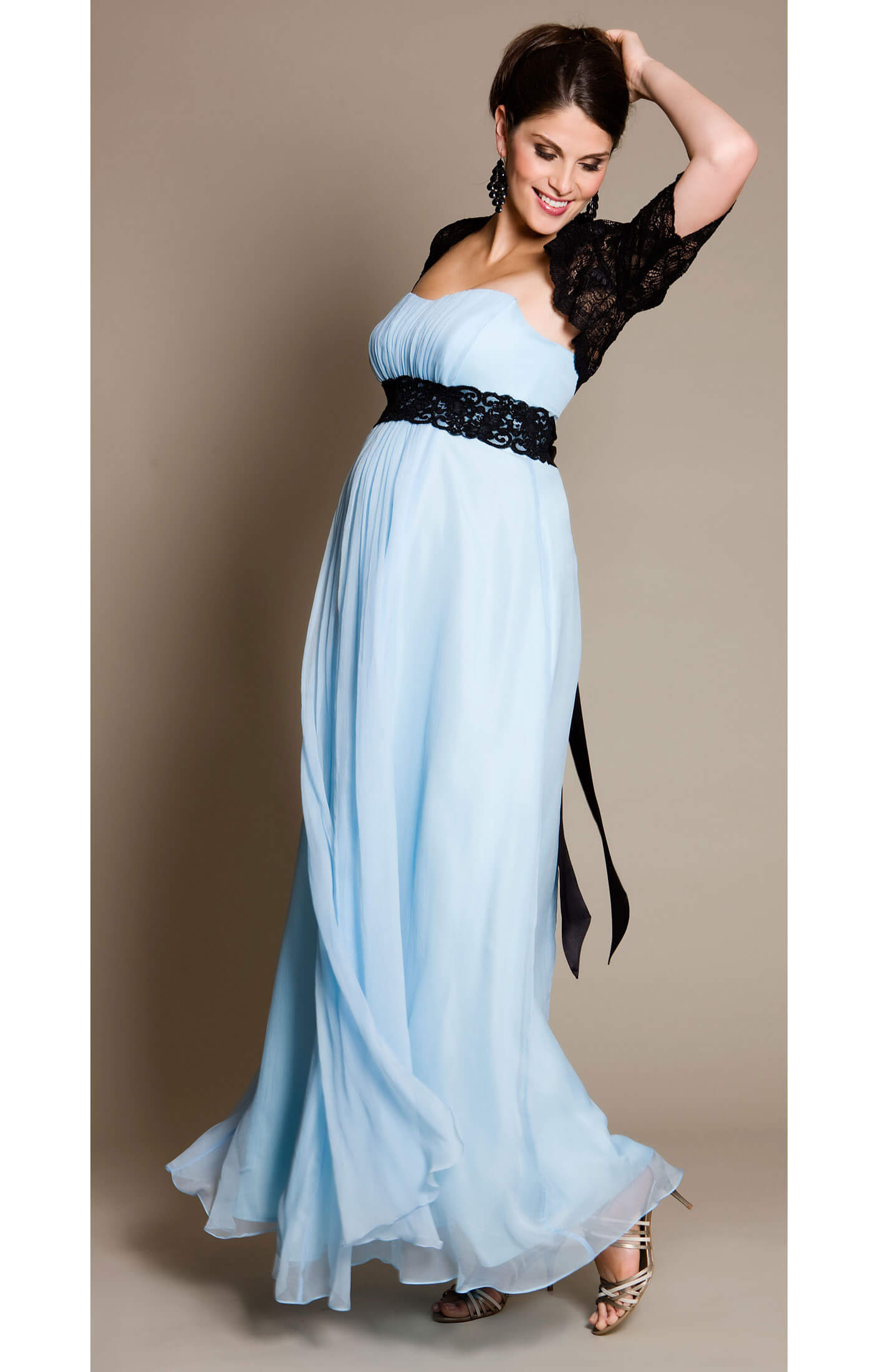 BlueBell Maternity Gown with Black Lace Sash  Maternity