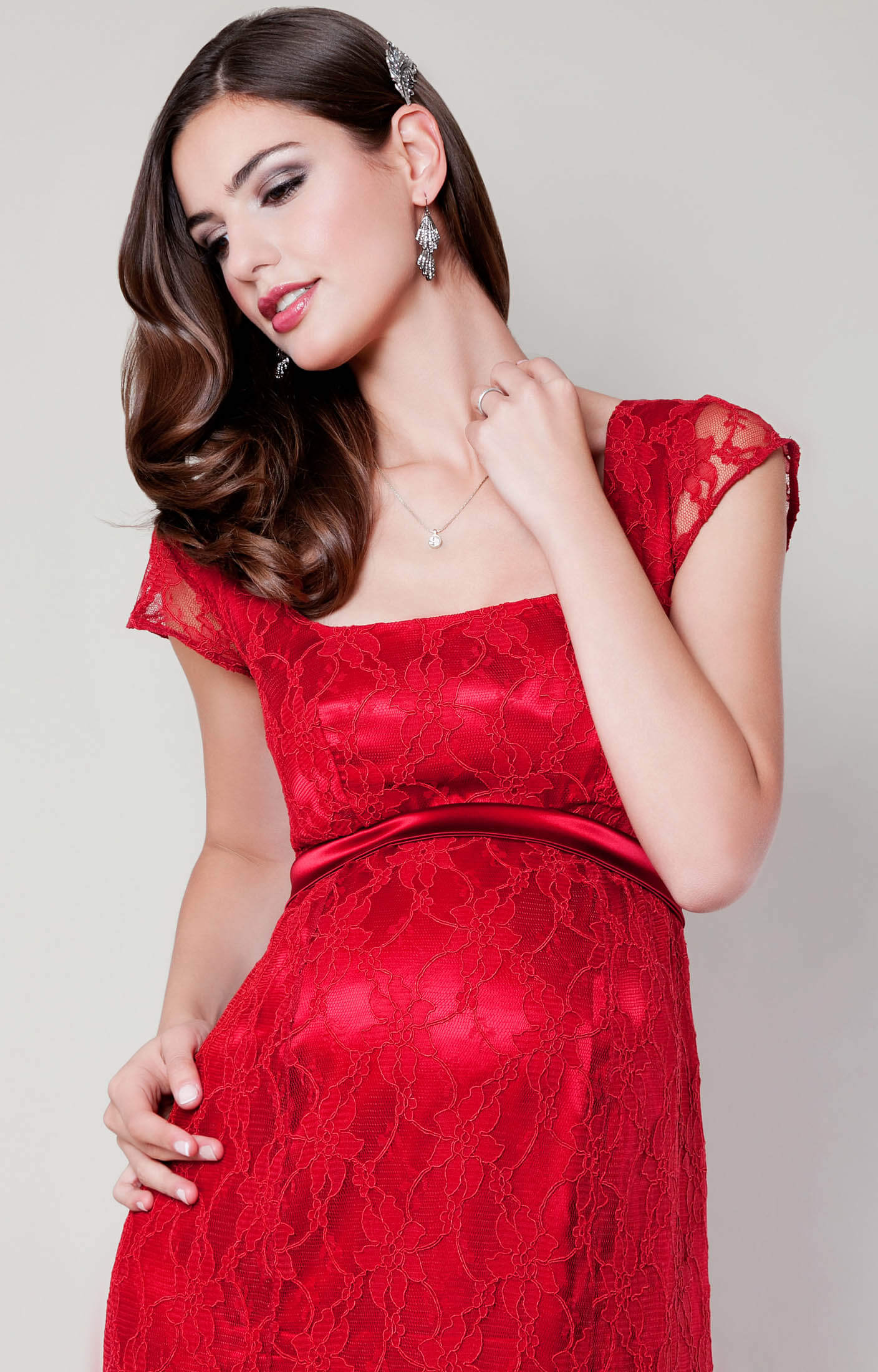 Eva Lace Maternity Gown Scarlet  Maternity Wedding