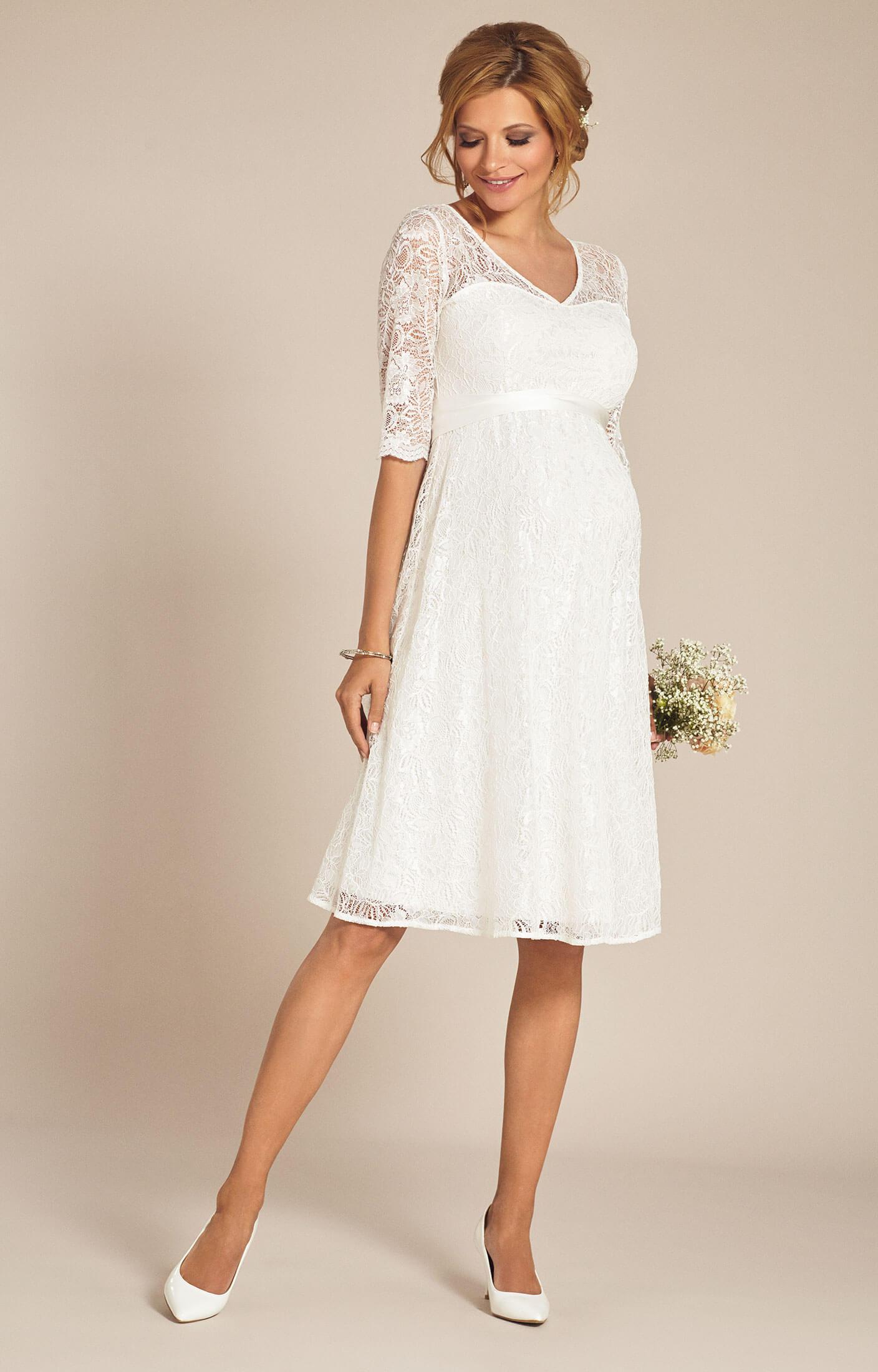 Flossie Umstands Hochzeitskleid kurz Elfenbein  Umstandshochzeitskleider Abendgarderobe und