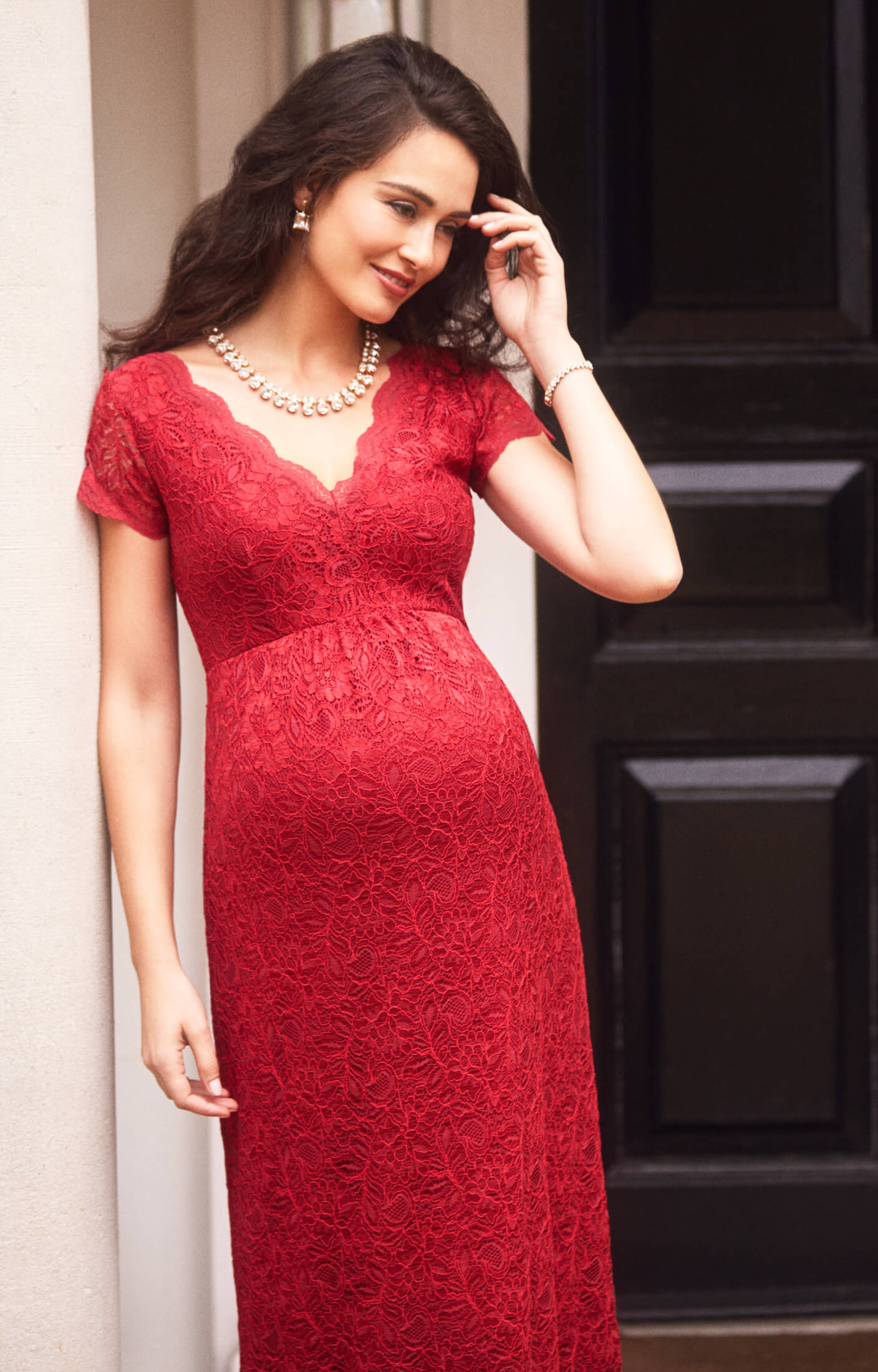 Laura Maternity Lace Gown Long Scarlet  Maternity Wedding Dresses Evening Wear and Party