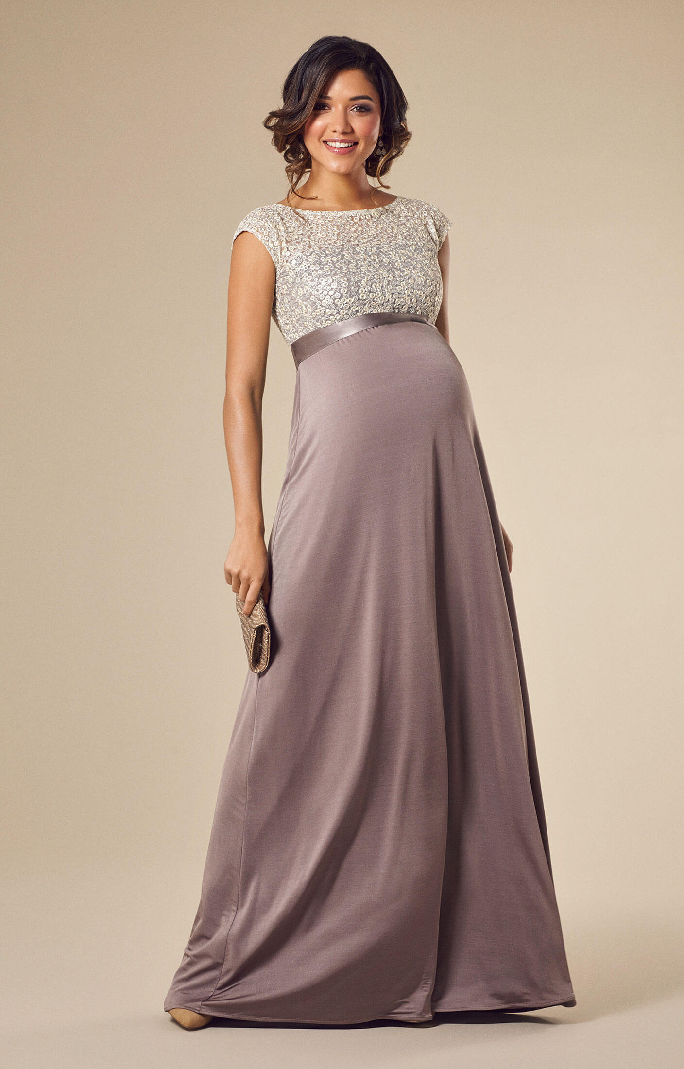 Mia Maternity Gown Dusky Truffle  Maternity Wedding Dresses Evening Wear and Party Clothes by