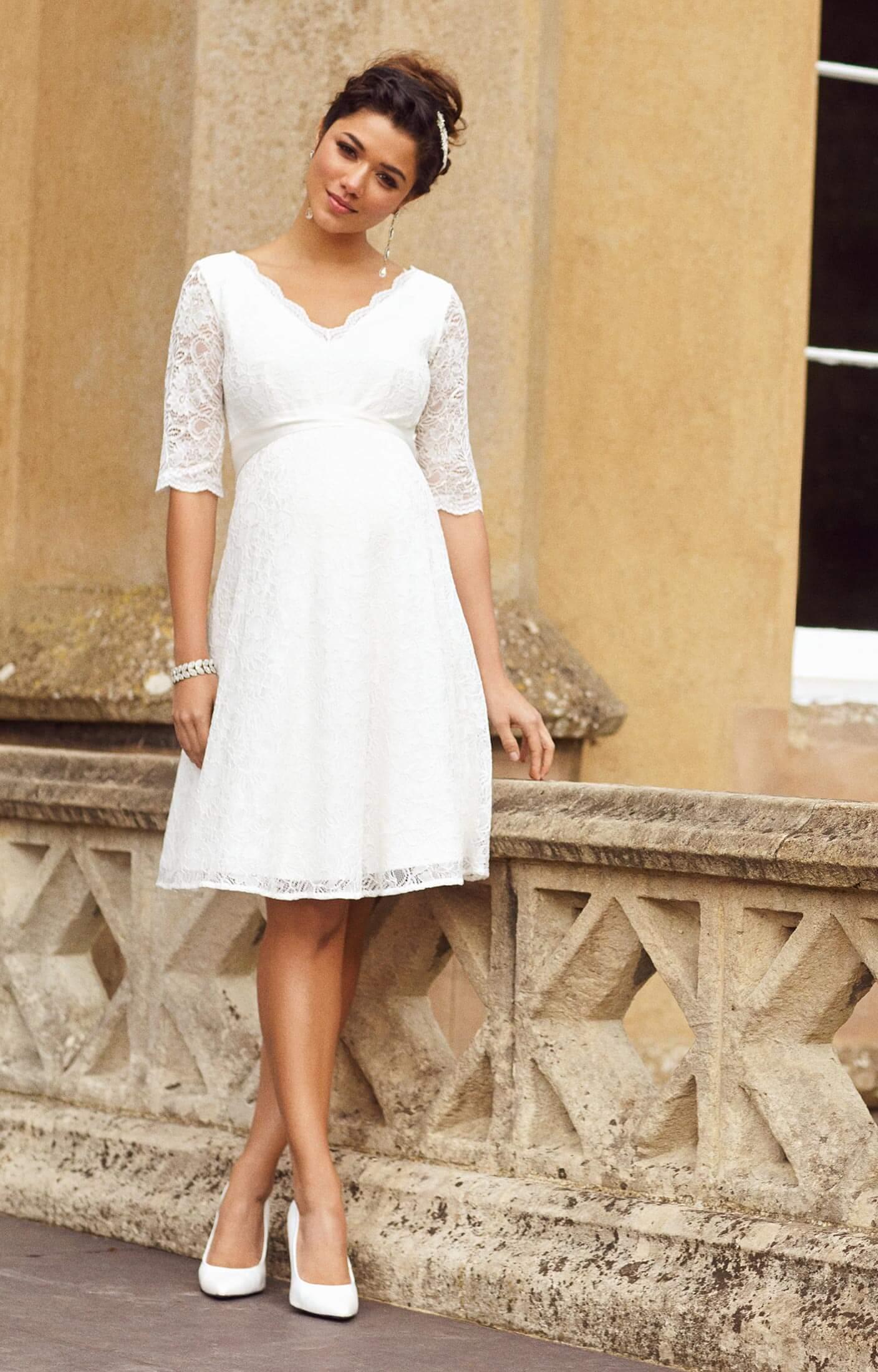 Noelle Maternity Wedding Dress Short Ivory  Maternity Wedding Dresses Evening Wear and Party