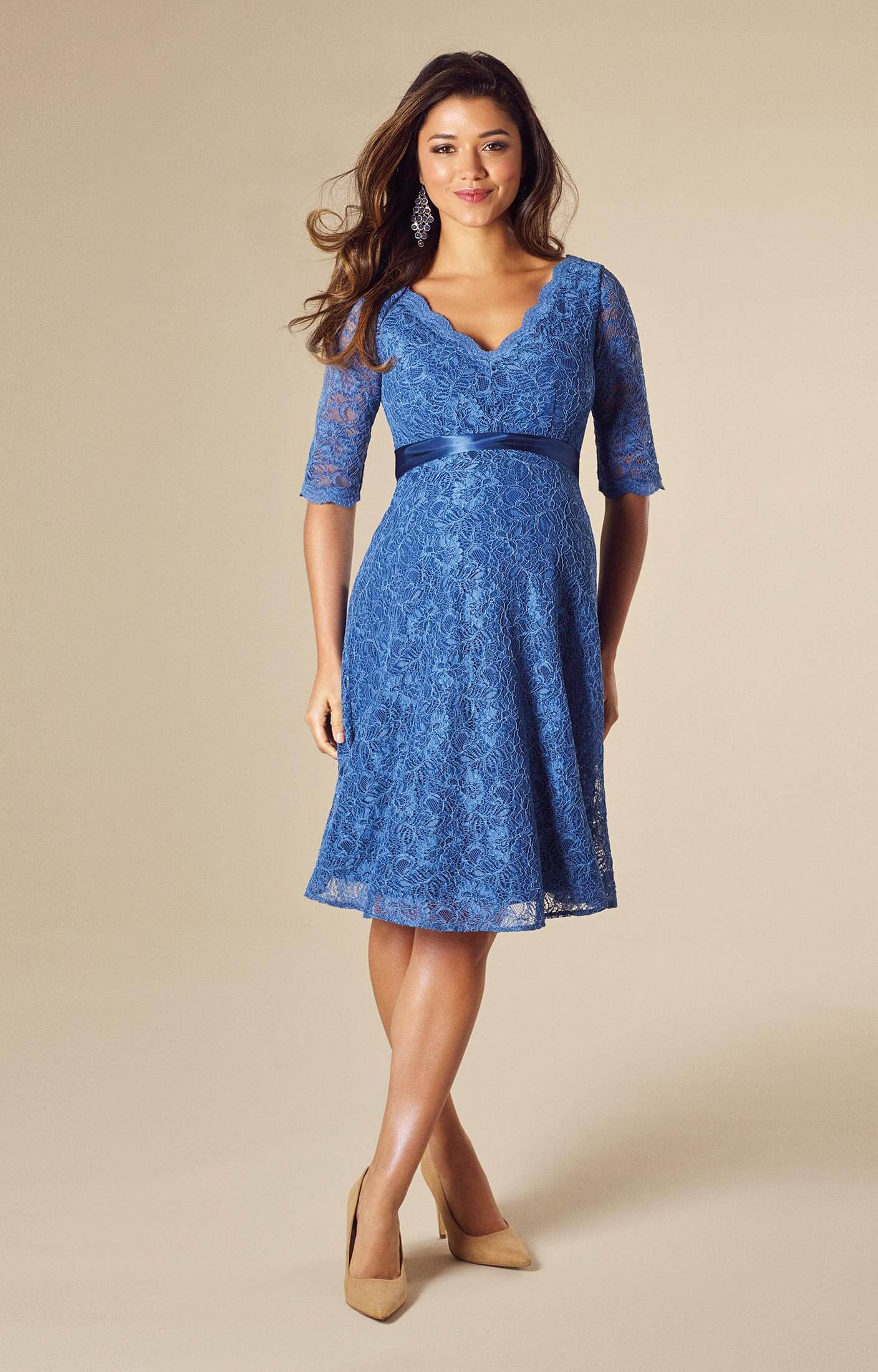Noelle Maternity Dress Short Riviera Blue  Maternity