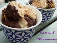 Bowl of chocolate dipped coconut macaroons