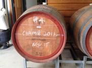 Wine barrel containing Chambourcin wine, , fermenting at Bunjurgen Estate