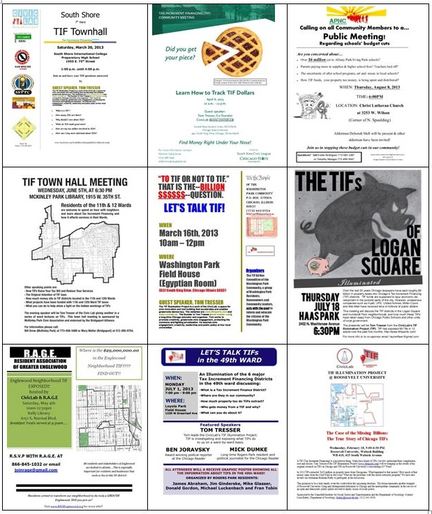 Just some of the fliers created by community groups when they invited us to Illuminate their wards.