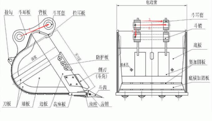 JCB excavator bucket for JCB 3CX JCB 4CX standard bucket