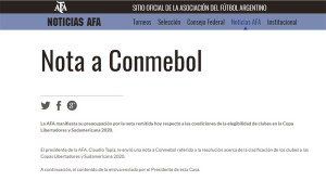 """La AFA le pide explicaciones a la Conmebol por el """"Caso TIGRE"""""""