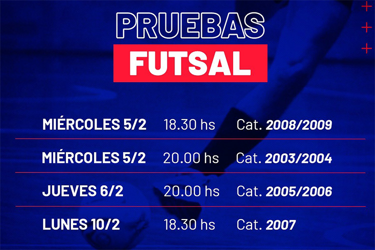 El miércoles comienzan las pruebas para Futsal