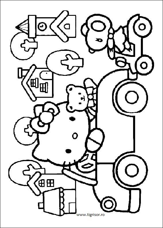 Plansa De Colorat Cu Hello Kitty In Masina Tigrisorro