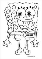 Plansa de colorat cu Sponge Bob zambitor