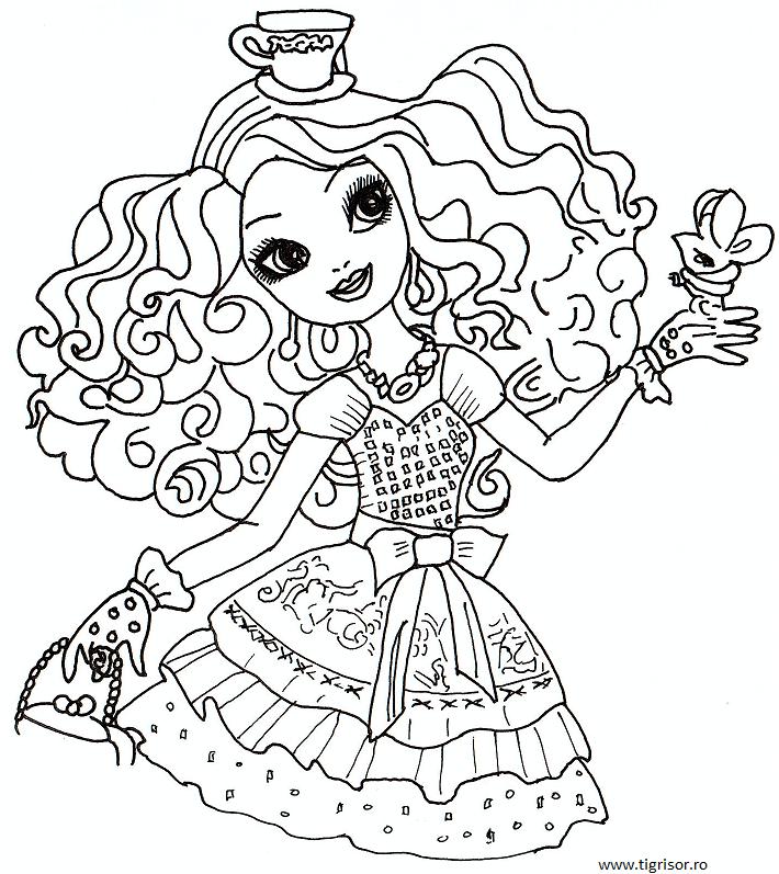 Plansa De Colorat Cu Madeline Hatter Fiica Nebunului Din