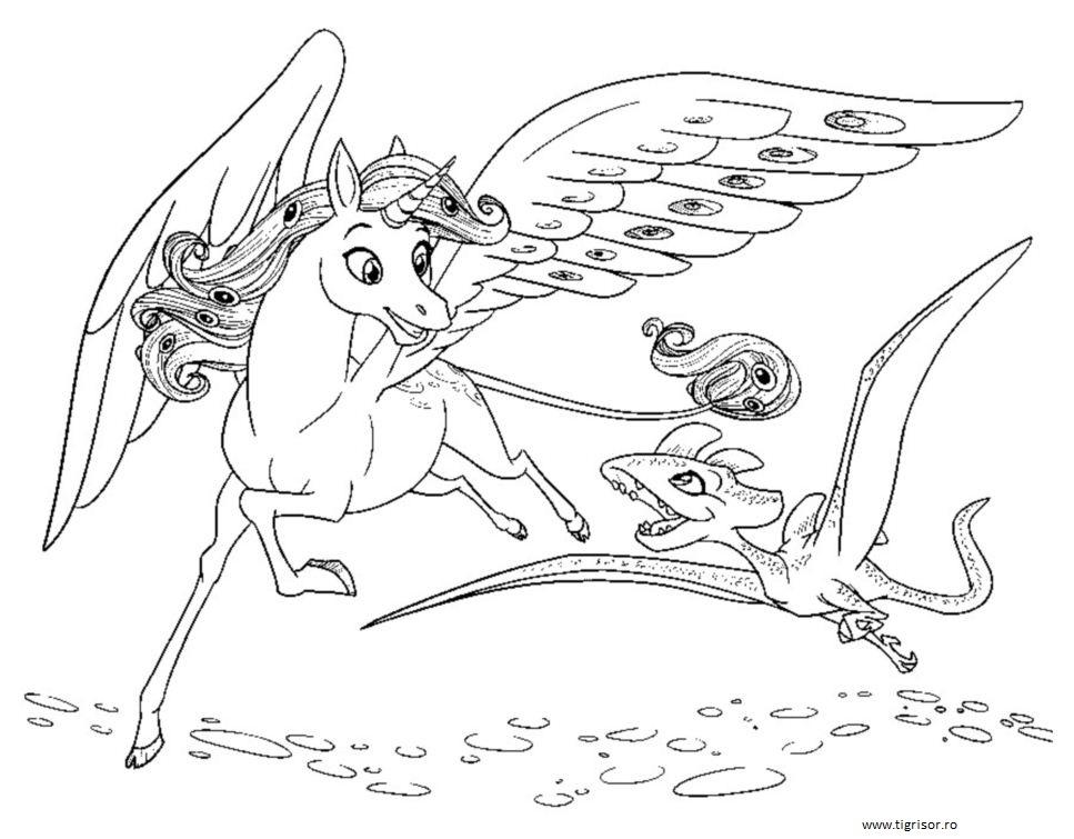 Plansa De Colorat Cu Unicornul Onchao Zburand Tigrisorro