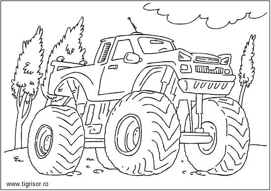 Plansa De Colorat Cu Grave Digger Monster Truck Tigrisorro