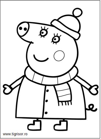 site web pentru reducere 100% calitate superioară murdărie ieftine Plansa de colorat cu Mama purcelusei Peppa in haine de iarna ...