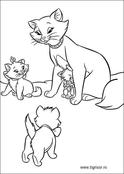 Plansa De Colorat Cu Pisicile Aristocrate Plansa 01