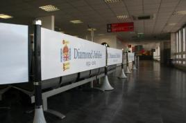 Cardiff Airport celebrating the Jubilee through the Tigrox banner barrier system