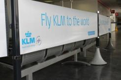 Cardiff Airport using the Tigrox Banner Barrier system to promote the KLM boarding gate