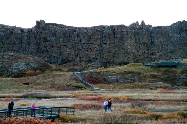 rift wall in thingvellir iceland