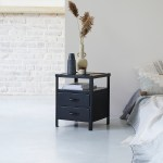 Industriel Metal Bedside Table With 2 Drawers Tikamoon