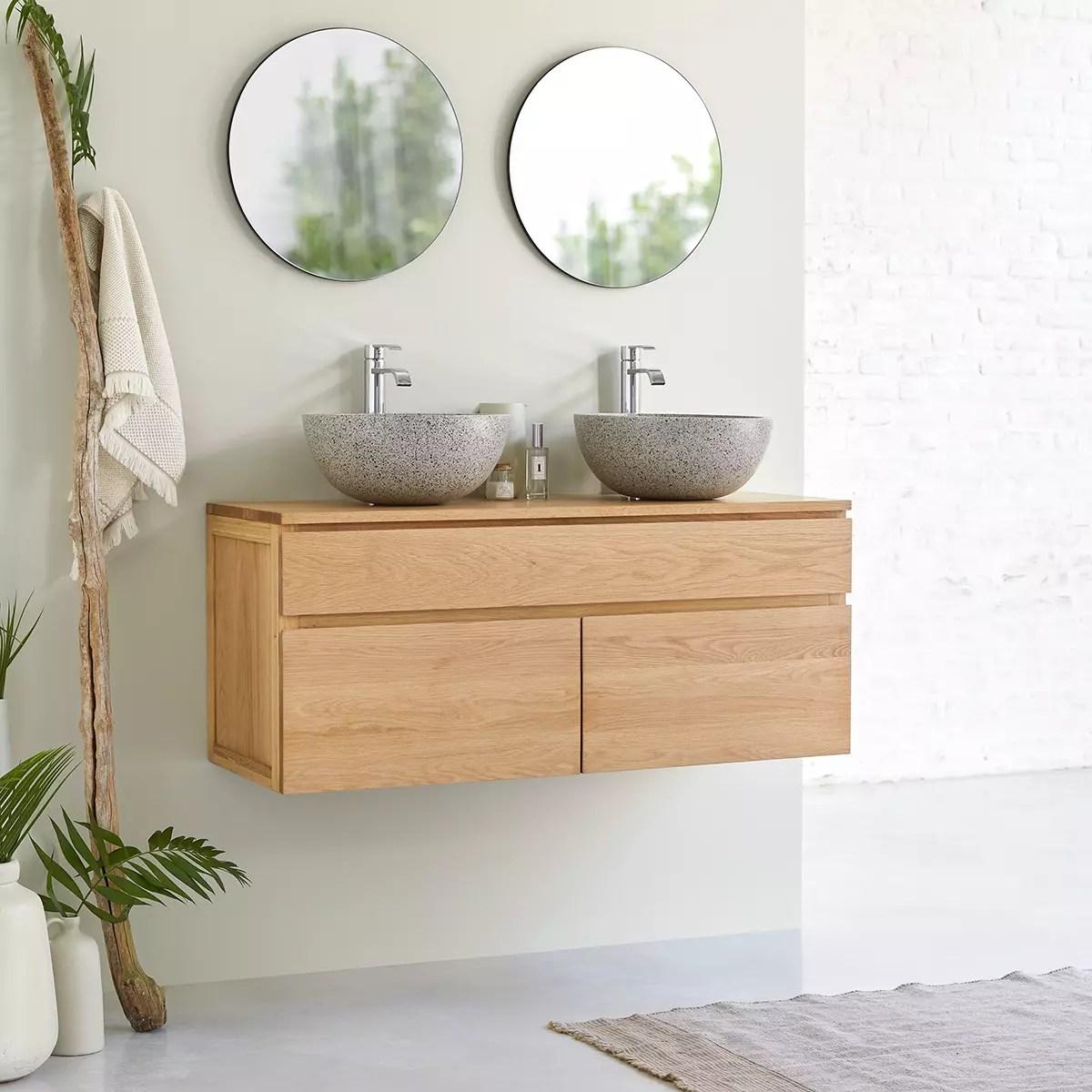 meuble salle de bain en chene massif 120 jacob