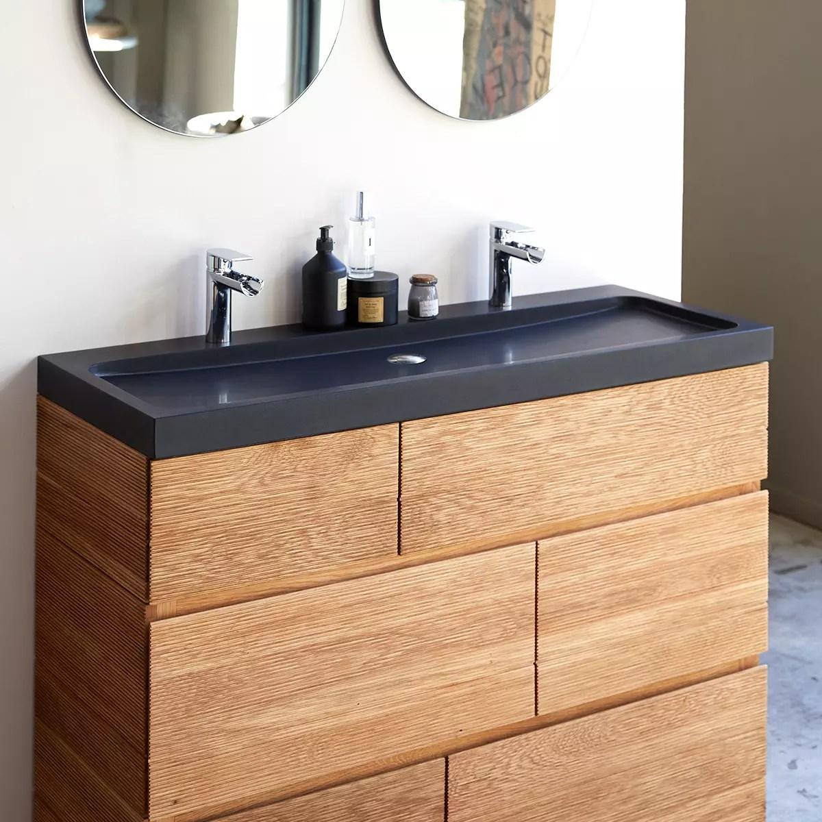 meuble salle de bain en chene massif et pierre de lave 120 karl