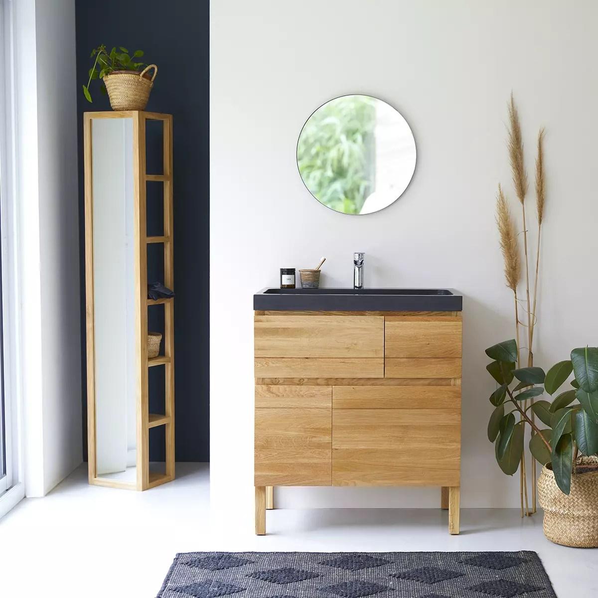 meuble salle de bain en chene massif et pierre de lave 80 easy