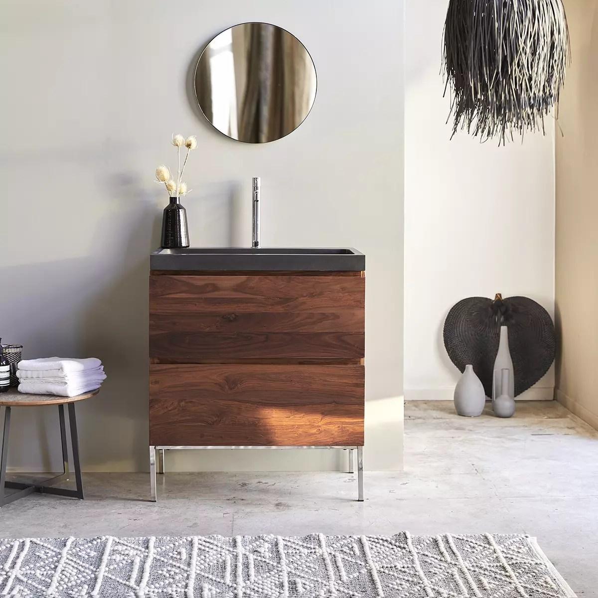 meuble salle de bain en palissandre massif et pierre de lave 80 nova