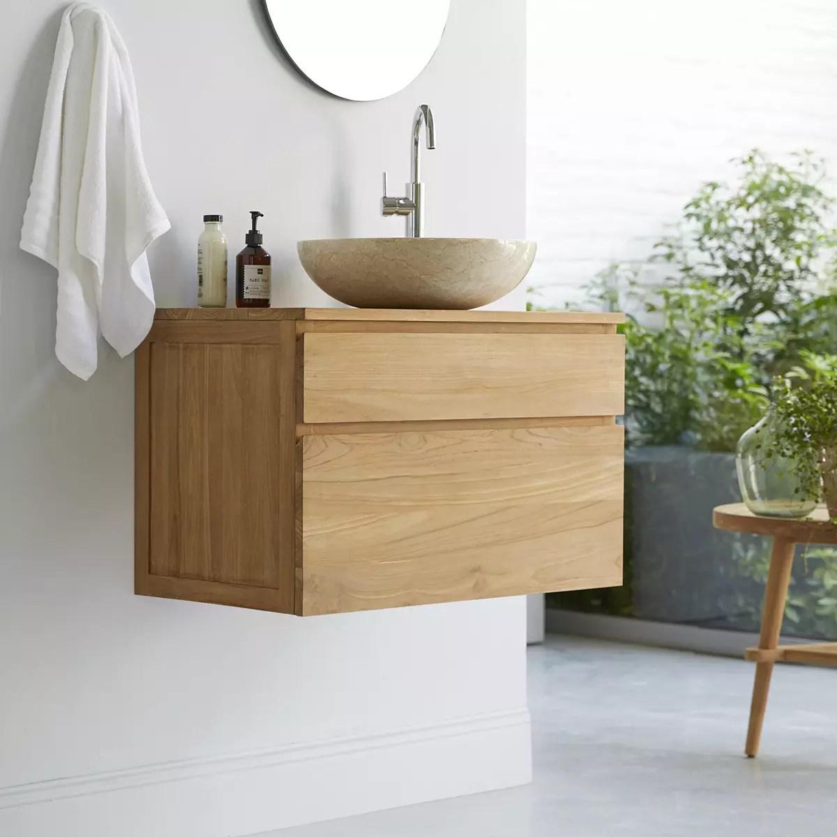 meuble salle de bain en teck massif 80 jacob