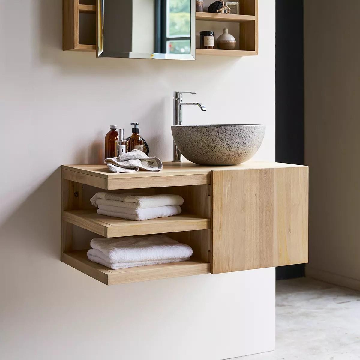 meuble salle de bain en teck massif 90 typo