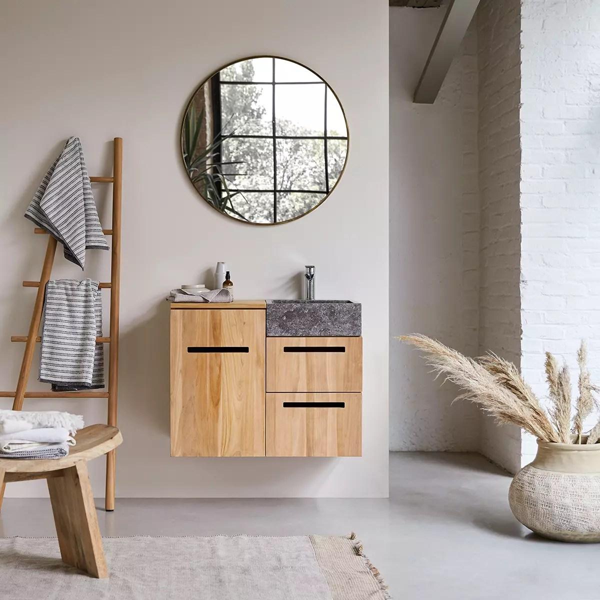 meuble salle de bain en teck massif et marbre 85 line