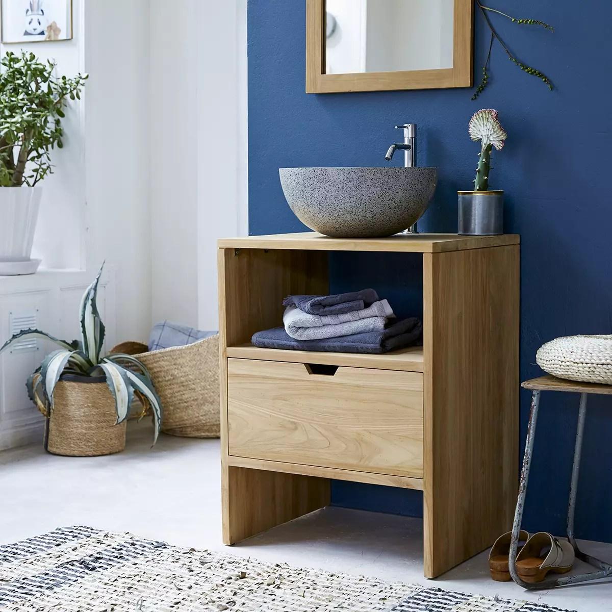 meuble sous vasque en teck 60 cm mobilier salle de bain tikamoon