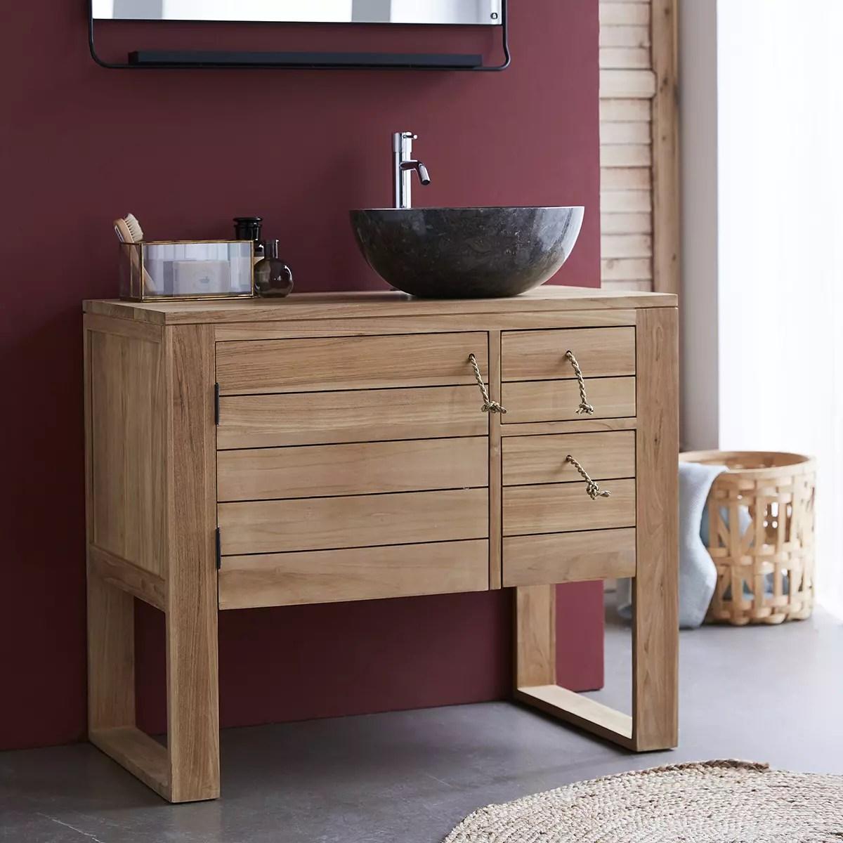 meuble sous vasque en teck massif 90 minimalys