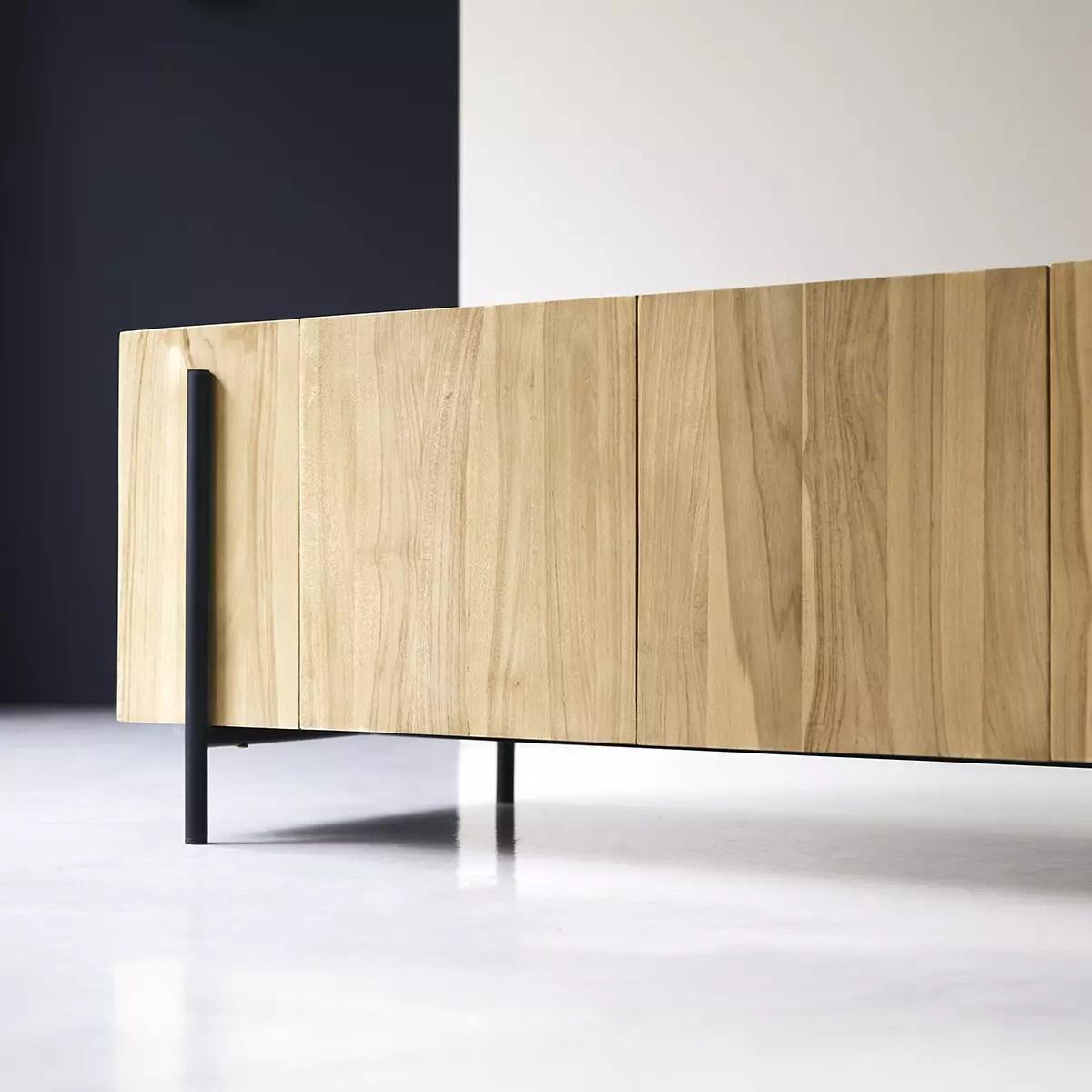 meuble tv bas en teck massif honorine 170 cm