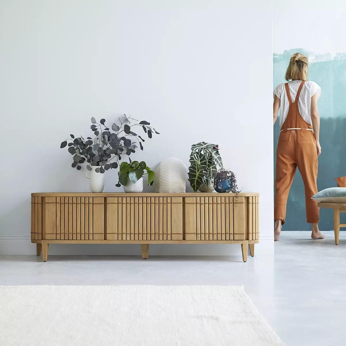 meuble tv en chene massif koppar 160 cm