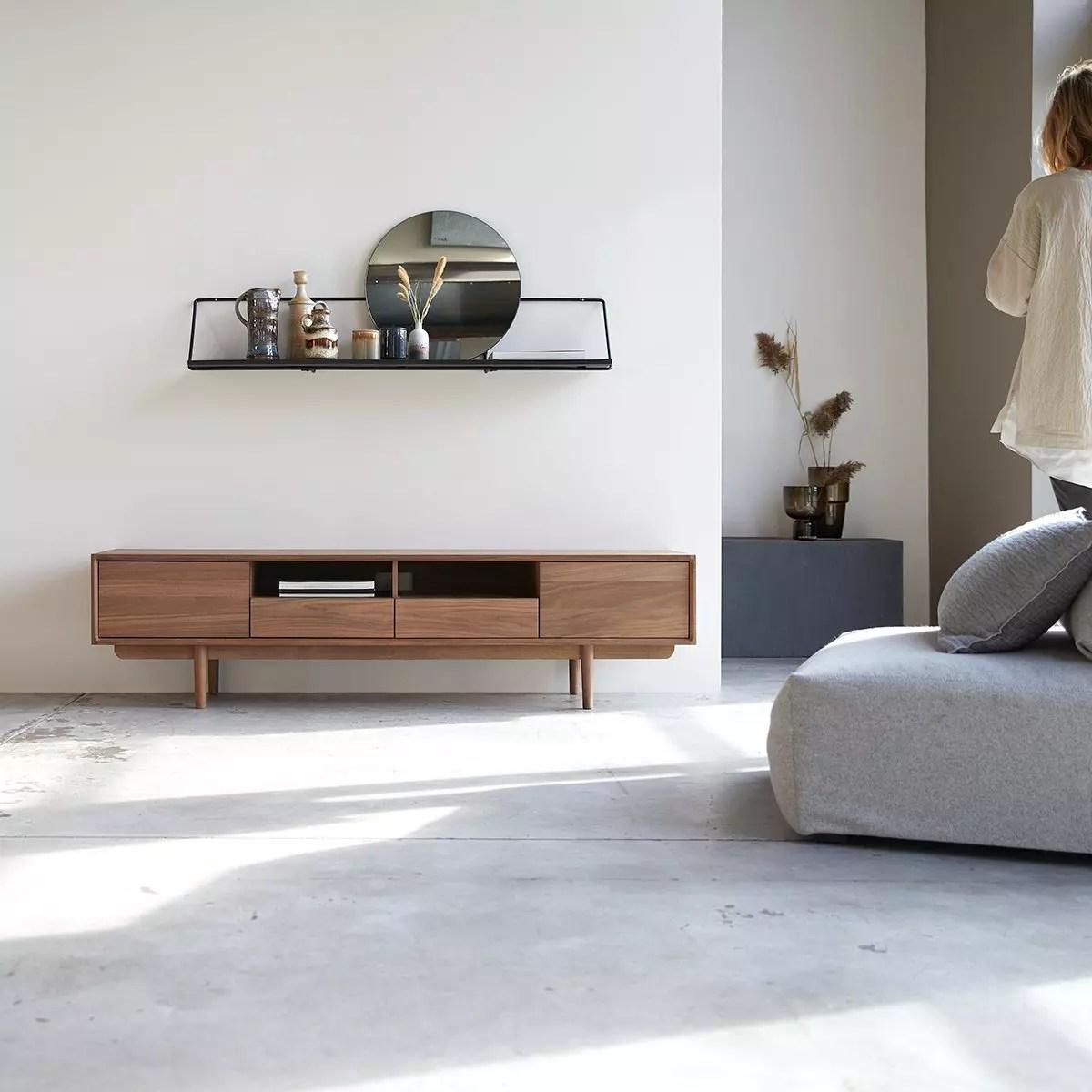meuble tv en noyer massif ellie 180 cm