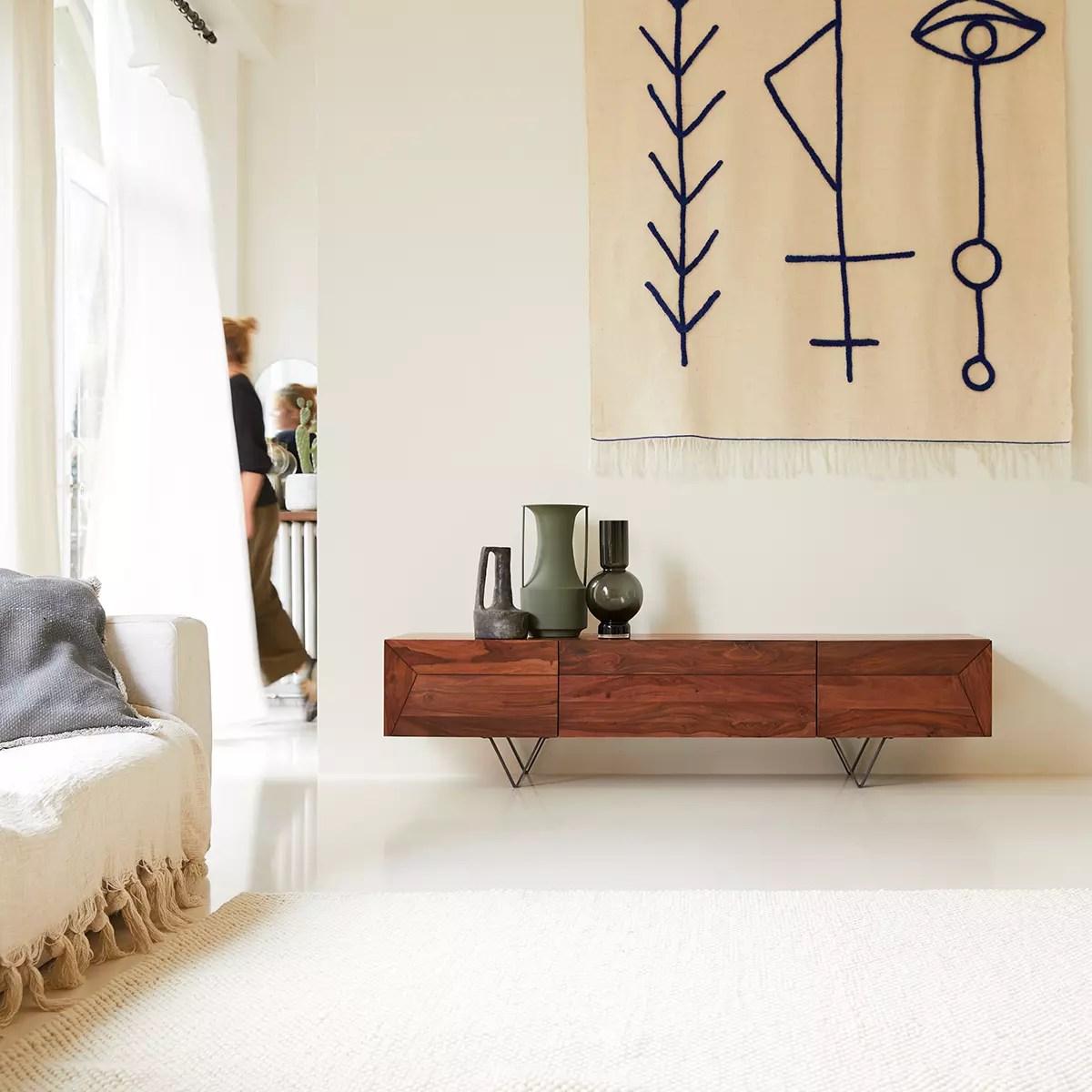 meuble tv en palissandre massif metric 175 cm