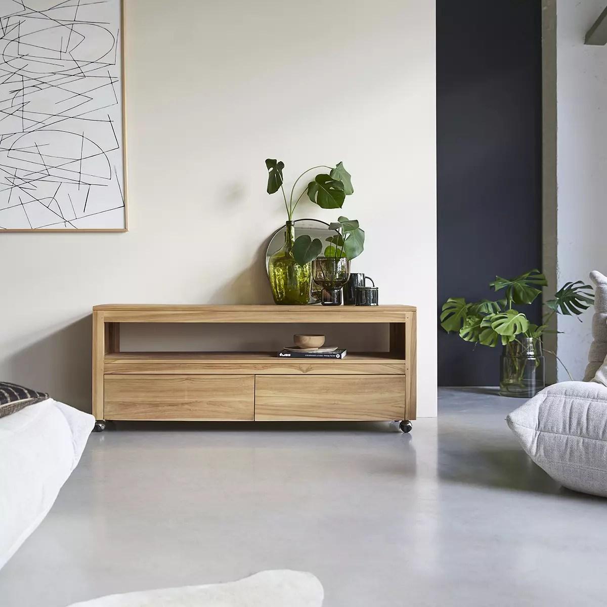 meuble tv en teck massif anoa 140 cm