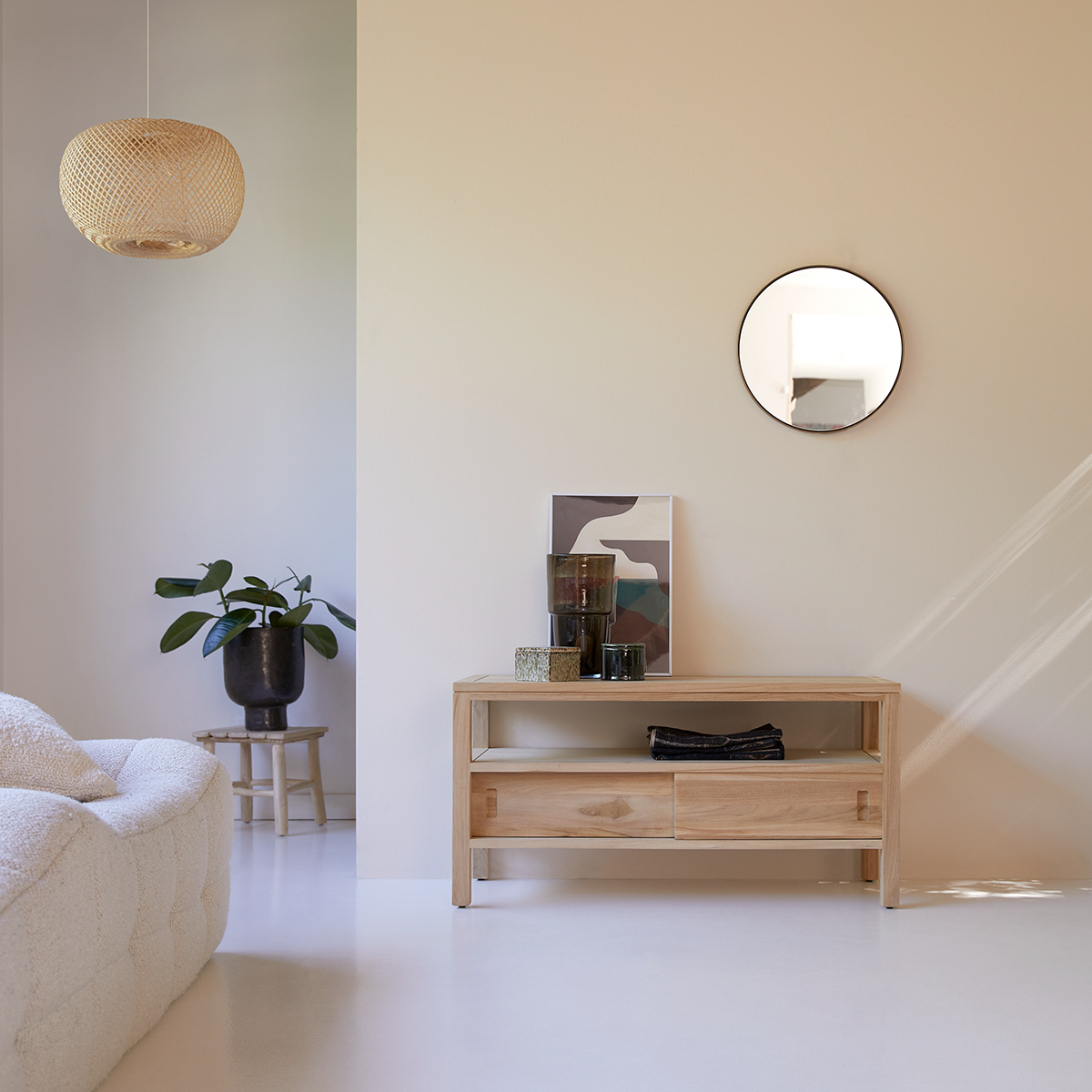 meuble tv en teck massif anton 100 cm