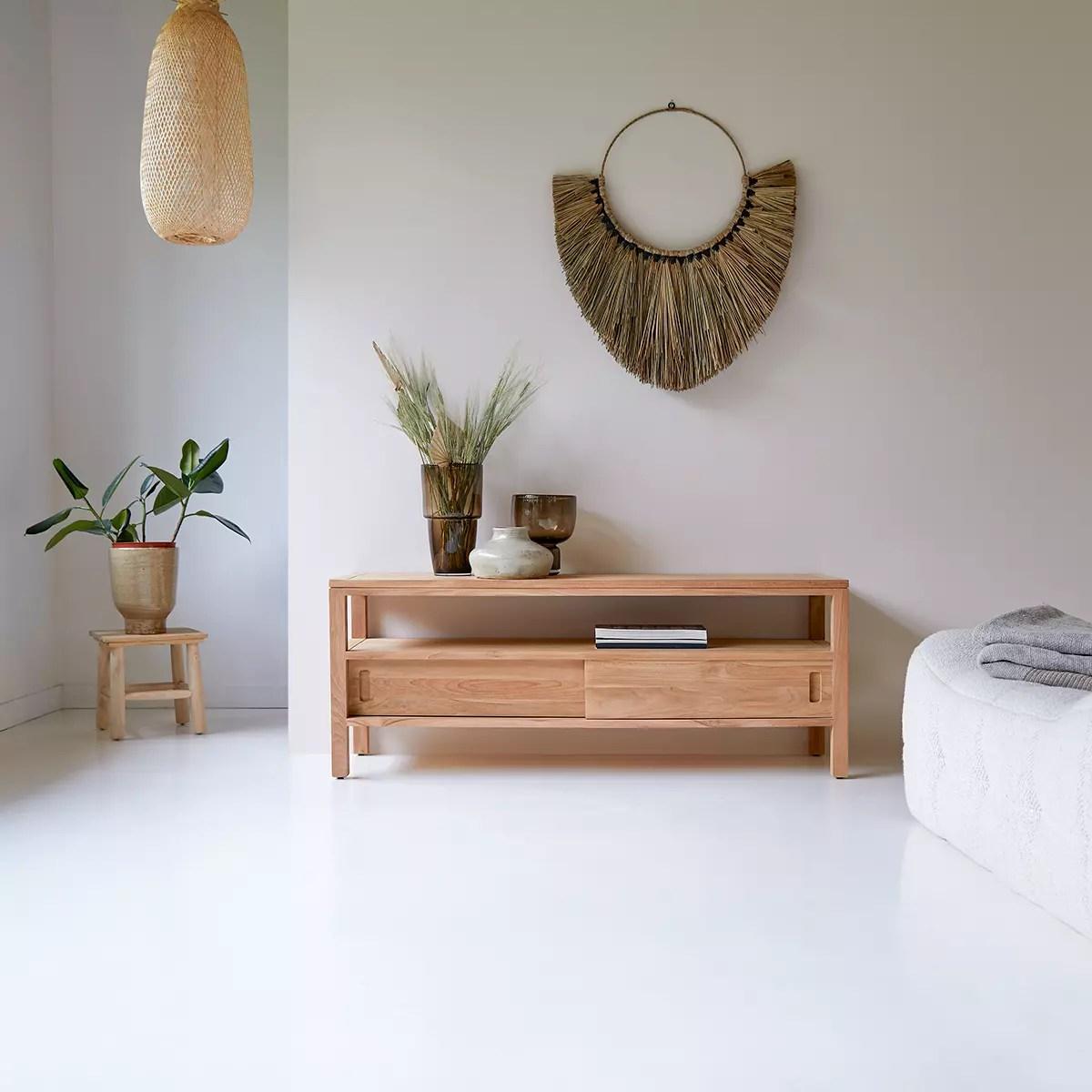 meuble tv en teck massif anton 130 cm