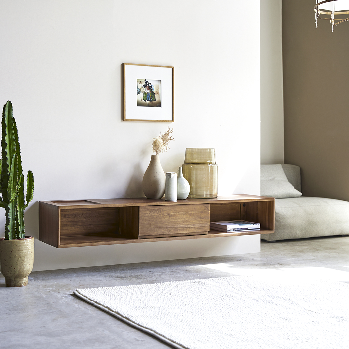 meuble tv en teck massif circa 1 tiroir 160 cm