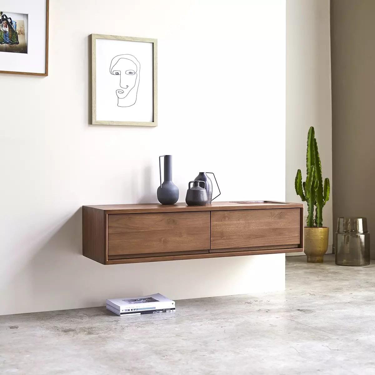 meuble tv en teck massif circa 2 tiroirs 110 cm
