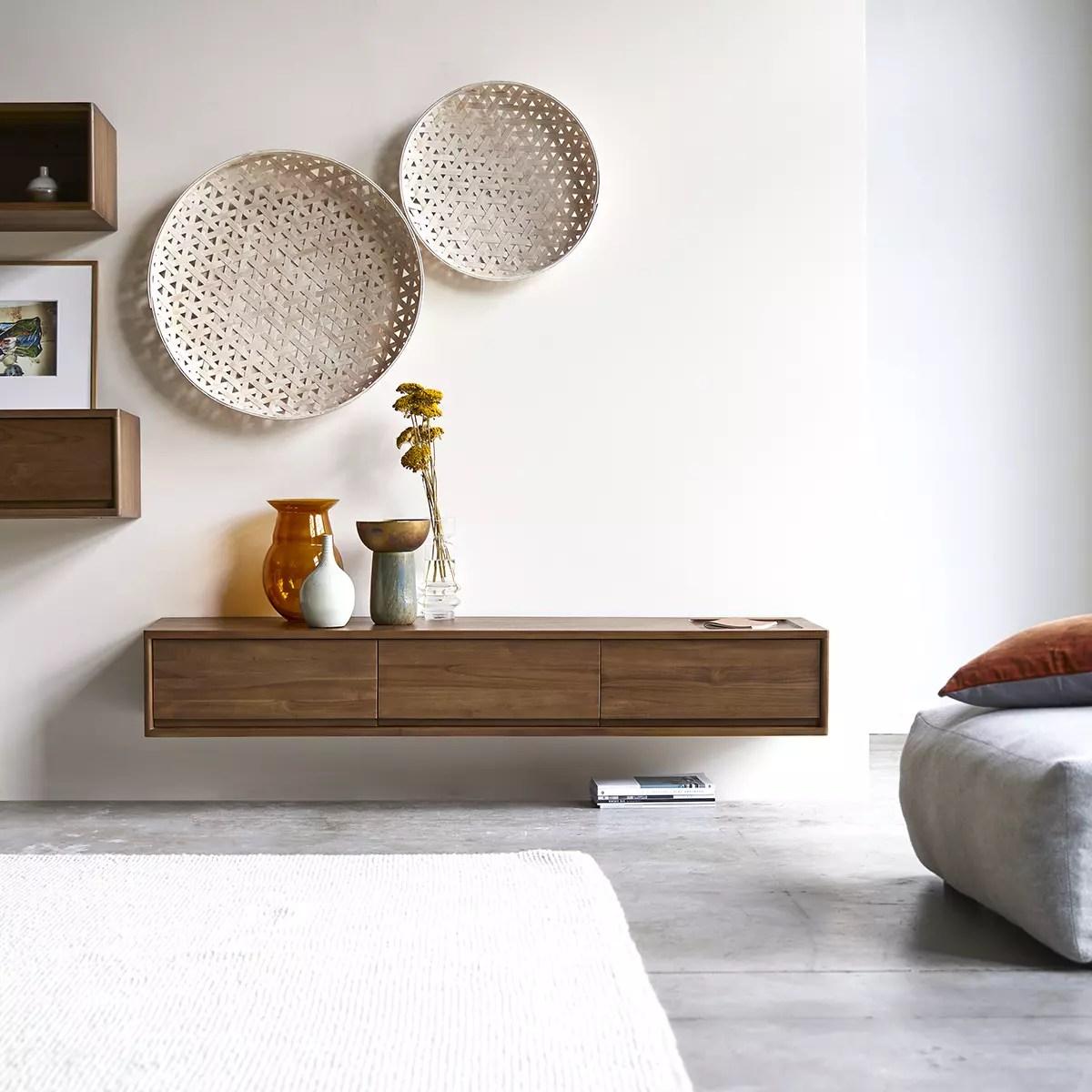 meuble tv en teck massif circa 3 tiroirs 160 cm