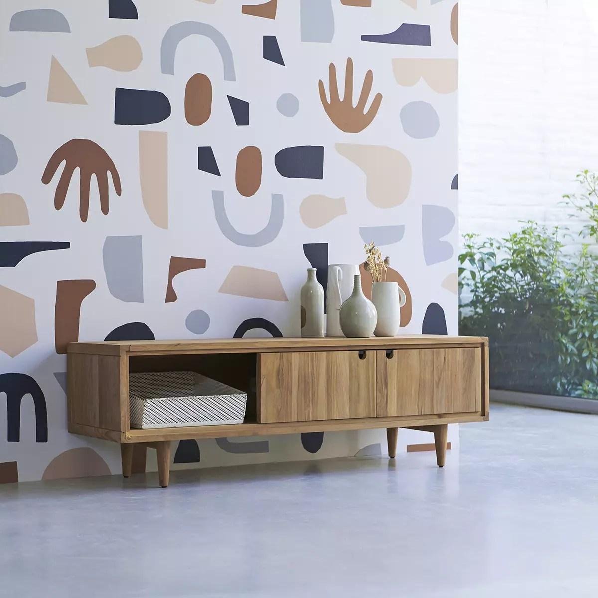 meuble tv en teck massif jonak 140 cm